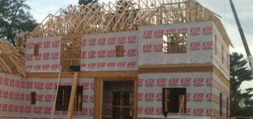 New home construction with house wrap